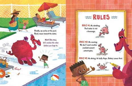 Interior from ROSIE THE DRAGON AND CHARLIE MAKE WAVES_pp 12-13_illus © 2019 Nate Wragg