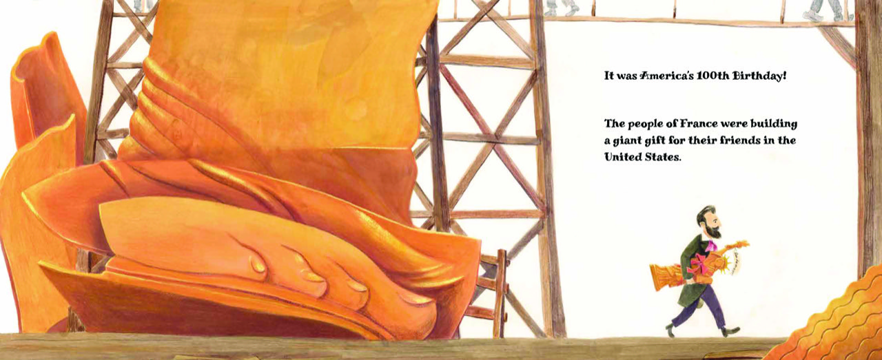 Interior illustration © 2021 Chuck Groenink from LET LIBERTY RISE! How America's Schoolchildren Saved the Statue of Liberty by Chana Stiefel_1